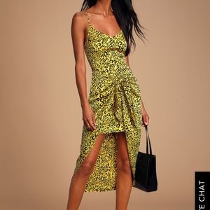 YELLOW LEOPARD PRINT TIE-FRONT HIGH-LOW DRESS